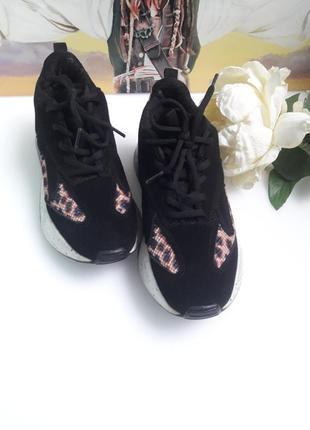 Кроссовки кожа на масивной подошве черные замша леопард принт от бренда  bianco😎4 фото