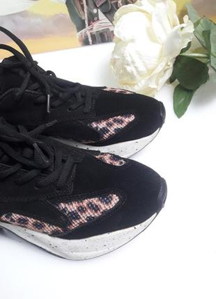 Кроссовки кожа на масивной подошве черные замша леопард принт от бренда  bianco😎8 фото