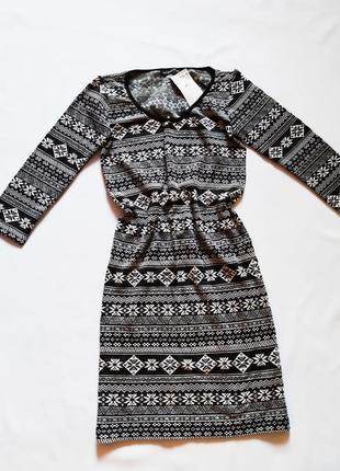 Утепленное платье в орнамент terranova