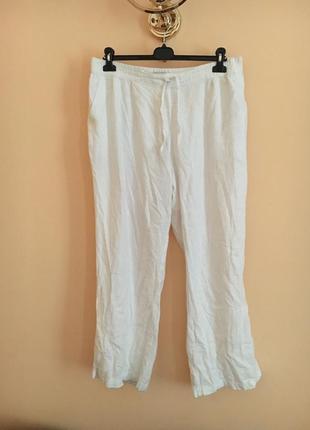 Батал большой размер белые натуральные льняные штаны штаники брюки брючки легкие