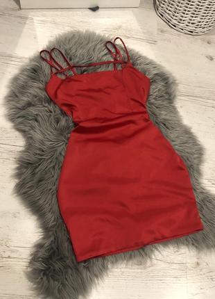 Сатиновое платье с бретелями ♥️ . сатинова сукня з бретеляии oh polly