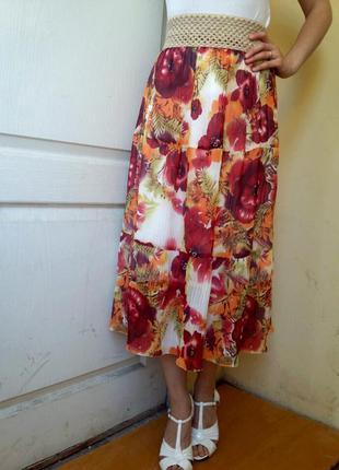 Шикарная шифоновая юбка миди