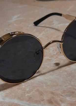 Стильные солнцезащитные круглые очки, очки ретро, очки в стиле стимпанк