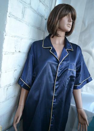 Атласная пижама рубашка свободного кроя marco donati