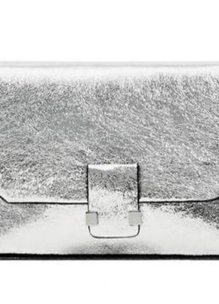Сумка серебристая крос-боди zara на цепочке через плечо