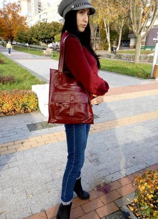 Скидки к лету!!! сумка - шоппер из натуральной итальянской кожи.