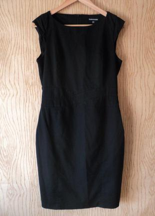 Платье warehouse без рукава черное миди футляр чехол фигуре офисное деловое строгое летнее