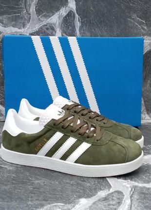 Мужские кроссовки adidas gazelle замшевые, хаки