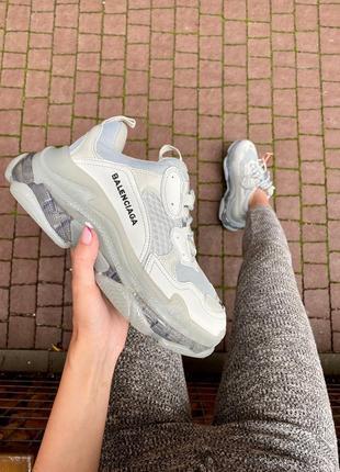Triple s clear sole grey  серые кроссовки
