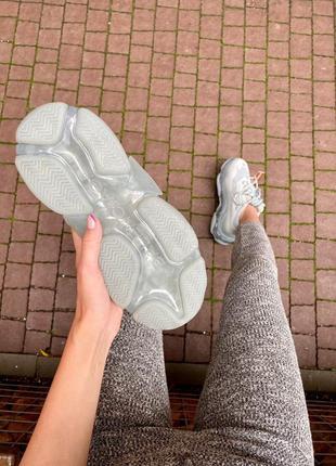 Triple s clear sole grey  серые кроссовки3 фото