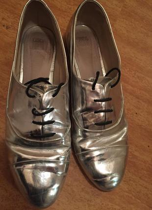 Туфли лоферы серебро