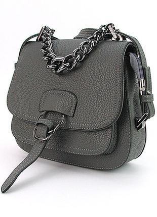 Серая сумочка кросс-боди женская молодежная на плечо маленькая