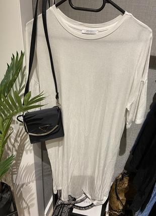Крутое свободное платье футболка с напылением zara