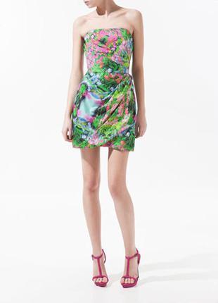 Яркое стильное нарядное новогоднее платье zara