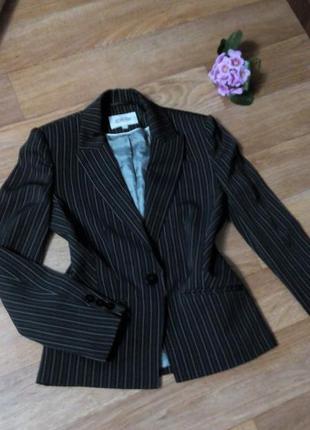 Пиджак жакет черный классический в полоску 46 размер короткий next
