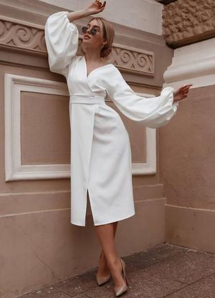 Нарядное белое платье на роспись и торжество