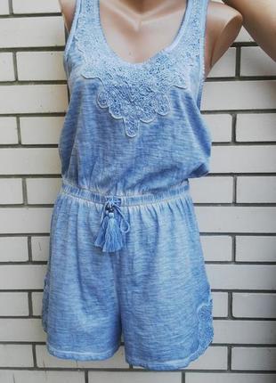 Ромпер,комбенезон из тонкой трикотажной ткани под джинс с открытой спиной,кружево,хлопок