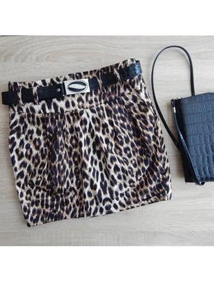 Мини юбка леопард