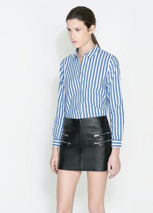 Голубая блузка в полоску