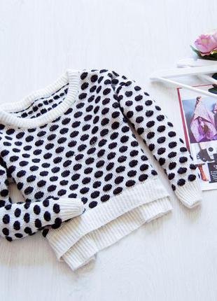 Кроп-свитер в горошек от topshop