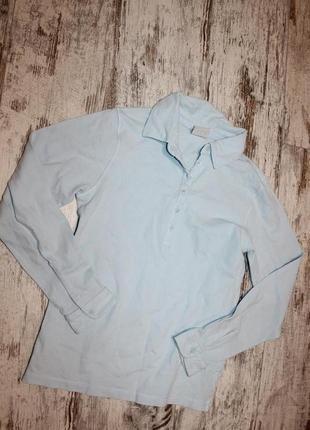 Кофта рубашка поло голубая с пуговками xs-s