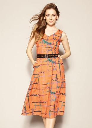 Платье миди ниже колена с поясом молнией без рукавов zaps hitomi 050 оранжевое персик
