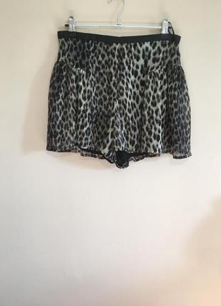 Шифоновые леопардовые шорты-юбка topshop