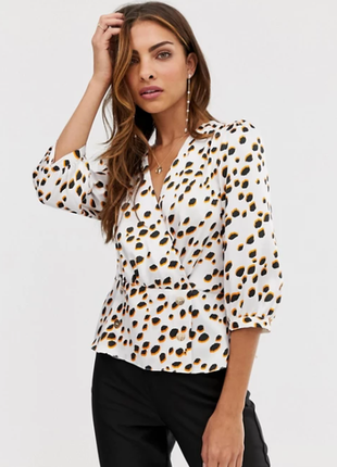 Атласная блуза/топ на запах в горошек.