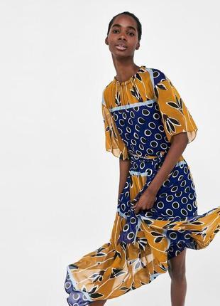 Zara шифоновое платье миди xs s m