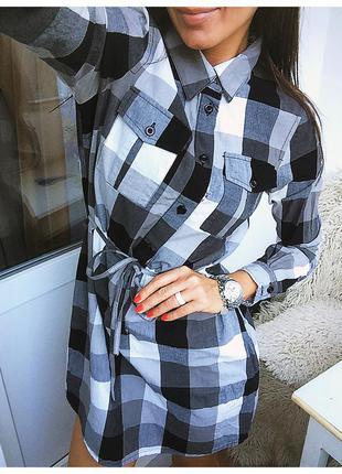 Новое платье - рубашка в клетку из натурального хлопка / клетчатое платье от vero moda