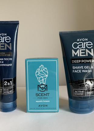 Мужской набор care men deep power гели для и после бритья, духи scent