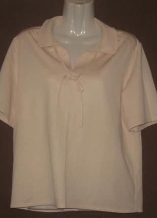 Блузка - кофта  бежевая летняя женская. 48 р.р на воротнике завязки.