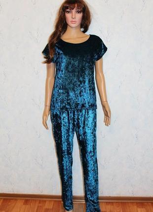 Пижама велюровая пижамка велюр мраморный домашний комплект