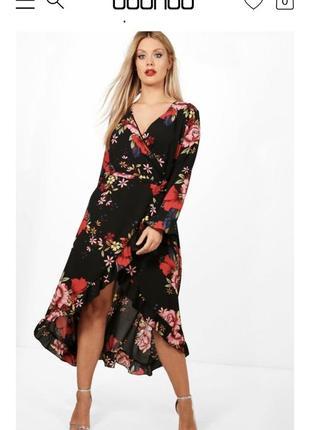 Платье на запах boohoo цветочный принт