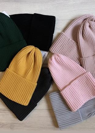 Скидка🔥вязанная шапка в рубчик 52-56 см
