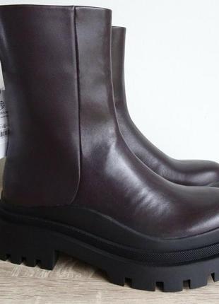 Трэндовые ботинки сапожки ботильоны zara-оригинал, натуральная кожа