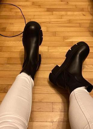 Трэндовые ботинки ботильоны челси zara-оригинал! натуральная кожа