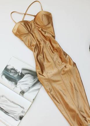 Шикарное платье бюстье по фигуре миди л 12