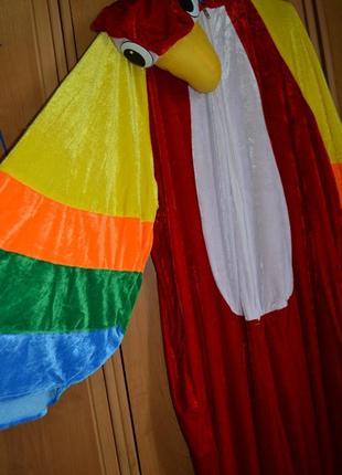 Карнавальный костюм попугай, взрослый костюм попугая, костюм для аниматора