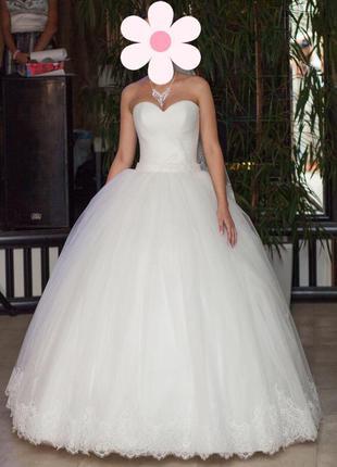 Свадебное шикарное платье xs/s айвори