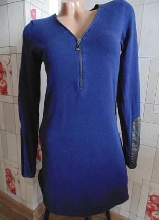 Облегающее мини платье с кожаными вставками