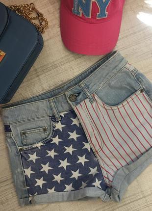 Джинсовый шорты topshop с американским флагом