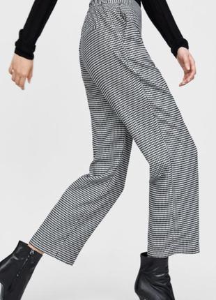 Свободные брюки укороченные штаны в клетку с карманами