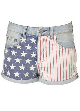 Джинсовый шорты topshop с американским флагом2 фото