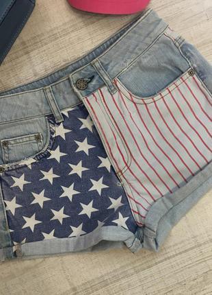 Джинсовый шорты topshop с американским флагом3 фото