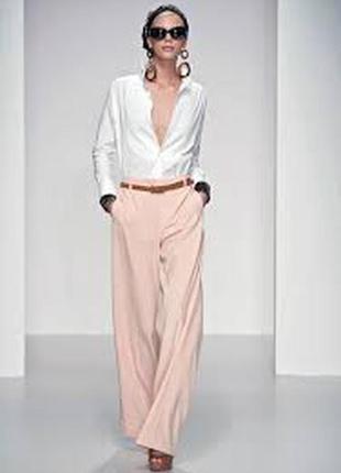 Пудровые брюки штаны женственно нежно как юбка макси в пол клёш палаццо 16, 2хл 50
