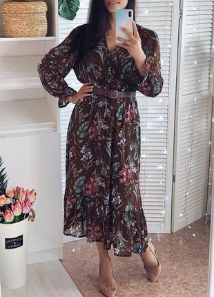 Нежное шифоновое платье цветочный принт 2 расцветки новинка