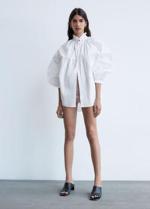 Розкішна поплінова сорочка оверсайз / объемная рубашка из поплина zara
