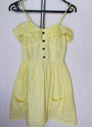 Хлопковое пышное платье с двойным воланом на груди