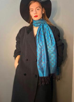 Шарф палантин кашемир натуральный шелк бирюзовый цвет